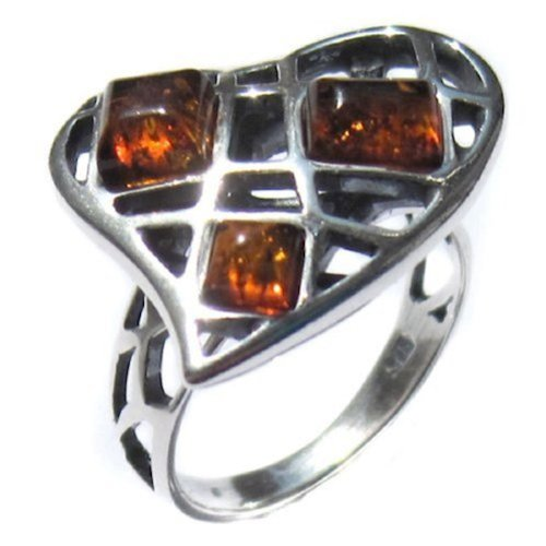 Heart Collection Honey Amber and Sterling Silver Ring Size ()