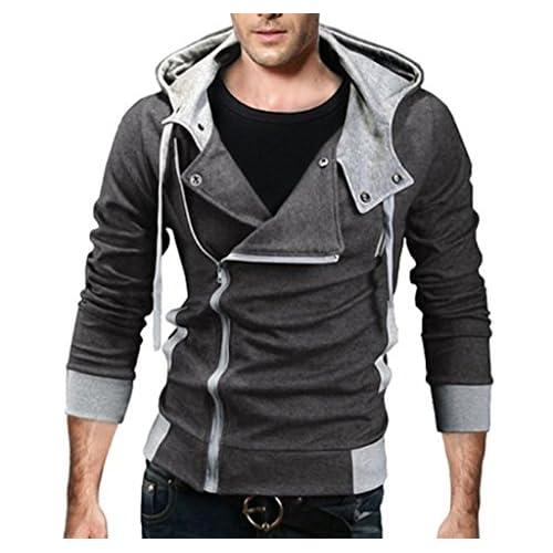 Cheap Elonglin Mens Casual Hooded Jacket Zipper-up Hoodie Coat Hipster Hip Hop