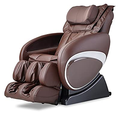 COZZIA 16027-3500B-89 Full Body Zero Gravity Shiatsu Swedish Massage Chair Recliner with Heat and LCD Display, Brown, 214 Pound