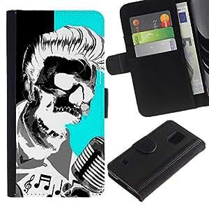 ZCell / Samsung Galaxy S5 V SM-G900 / Elvis Music Rock Roll Microphone Skull / Caso Shell Armor Funda Case Cover Wallet / Elvis Música Roc