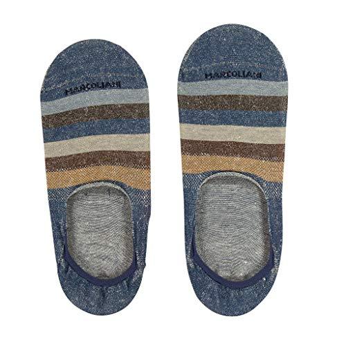 Marcoliani Milano Mens Invisible No Show Graded Stripe Linen Socks, Brown Mix, One Size Fits ()