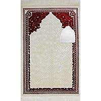Modefa Islamic Prayer Rug Janamaz with FREE CAP - Sajadah Simple Design Solid Sina (Red)