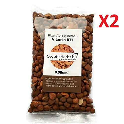 Apricot kernels/Natural/ Organic/raw/ Bitter Apricot Kernel Seeds/Vitamin b17/Certified/ 1 Pound (16 OZ)