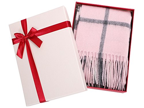 Simplicity 63.5 x 11.5 100% Cashmere Scarf w/ Gift Box, Pink/Grey Plaid