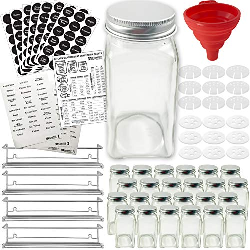 Stainless Steel Spice Racks with 24 Glass Spice Jar & 2 Types of Printed Spice Labels, Complete Set by Talented Kitchen: 4 Wall Mount Racks 24 Square Empty Jars 4oz, Chalkboard & Clear Label & more -