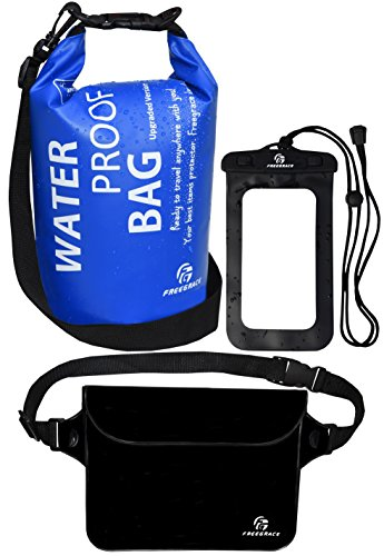 Waterproof Dry Bags Set Of 3 By Freegrace - 5L Dry Bag With 2 Zip Lock Seals & Detachable Shoulder Strap, Water Resistant Waist Pouch & Flexible Phone Case (Navy Blue)