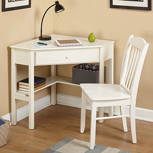 This classically styled desk utilizes a small space for a big impact, with stylish under-desk shelving and a drawer to hide clutter. Simple Living Wood Corner Computer Desk (Antique White + Chair)