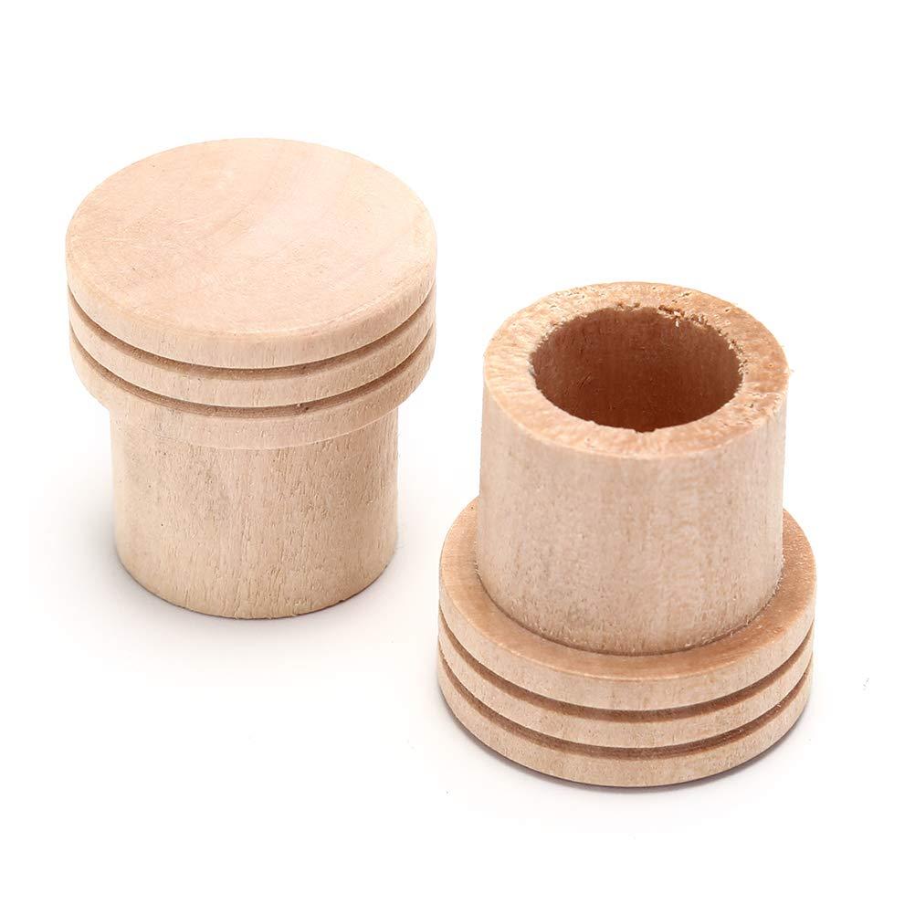 Ujuuu 5 Pcs Dia.18mm Wooden Moxa Extinguisher, Moxa Stick Roller Holder, Moxibustion Extinguisher Massage Device