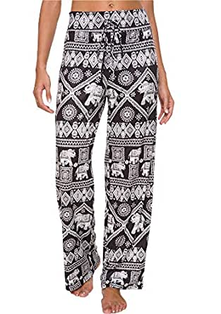 Artfish Women's Loose Baggy Yoga Long Pants Floral Printed Trousers Flowy Beach Pants Elephant Printed (18# Black, L)