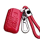 KMT Leather Car Remote Key Fob Case Cover Holder Shell For Jaguar Smart Key (Red)