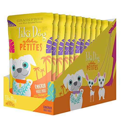 Tiki Dog Aloha Petites Gluten & Grain Free Wet Food in a Pouch for Adult Dogs with Shredded Meat & Superfoods (Petite Pouch)