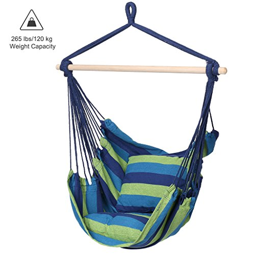 Swing Outdoor Bars - Finehter Hanging Rope Hammock with Pillow Set|Hanging Chair Swing seat for Indoor Outdoor Use|265 lbs Weight Capacity,Blue & Green Stripe,No Fade