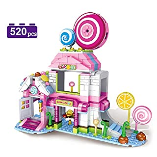MONING.C Girls Building Blocks Set Toys Lollipop House 520 Pieces Pink Dream House Toys for Girls Constuction Bricks Education Assembly Toy Christmas Birthday Gift for Kids Age 6+