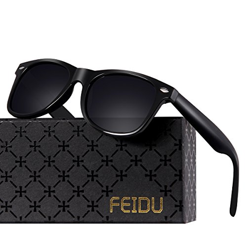 FEIDU Classic Men's Polarized Wayfarer Retro Sunglasses Unisex for Women FD 2149 (Black, 2.08)
