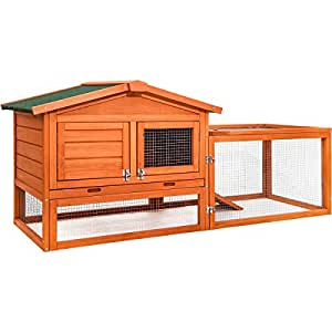 Merax Pet Rabbit Hutch Wooden Small Animals House with Tray, Natural Color