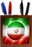 Rikki Knight Brazil World Cup 2014 Iran Team Football Soccer Flag Design 5-Inch Tile Wooden Tile Pen Holder (RK-PH44269)