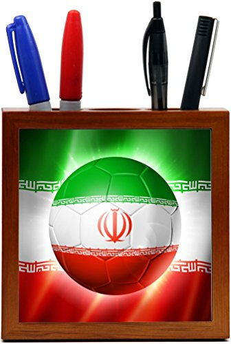 Rikki Knight Brazil World Cup 2014 Iran Team Football Soccer Flag Design 5-Inch Tile Wooden Tile Pen Holder (RK-PH44269) by Rikki Knight