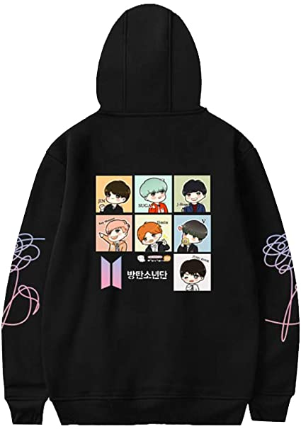 2b2c74d76e28 Imilan Women Hoodie BTS Cartoon Printed Hooded Sweatshirt Pullover Love  Yourself(XXS