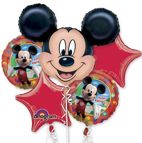 Single Source Party Supplies - 5 Balloon Mickey Mouse Birthday Balloon Bouquet Combo Mylar Foil Balloon ()