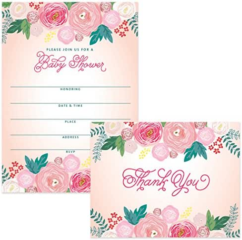 Baby Shower Invitations (100) & Matching Thank You Notes (100) Set with Envelopes, Large Event Mom-to-Be Celebration Daughter Girl Female Fill-in Invites & Folded Thank You Cards Best Value Pair