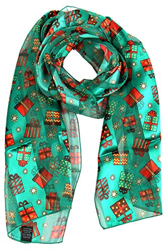 Satin Lightweight Scarf Wraps, for Christmas Holiday, Square Silk Feel Scarves, Gift Green]()