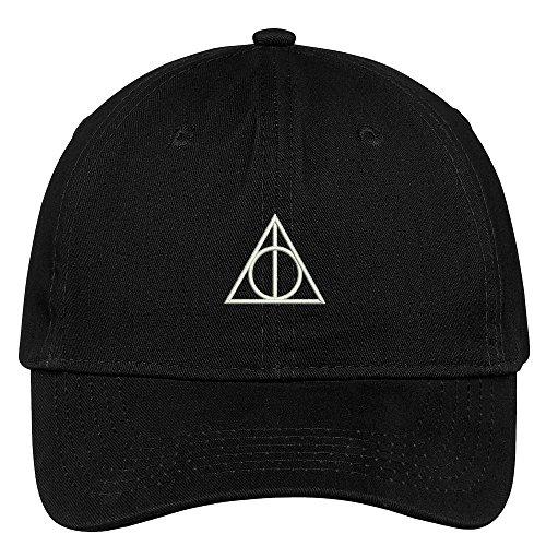 Trendy Apparel Shop Deathly Hallows Magic Logo Embroidered Soft Cotton Low Profile Cap - Black (Logo Cotton Soft)
