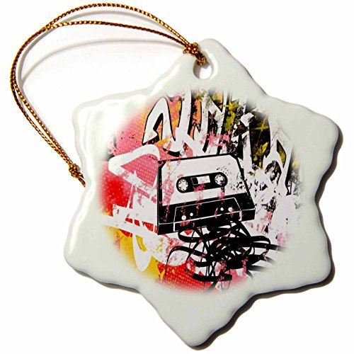 OneMtoss Florene Decorative III Image of Graffiti with Old VHS Tape Art Snowflake Porcelain Ornament -