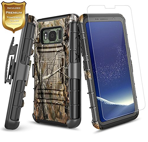 S8 Active Case with [Tempered Glass Screen Protector], Samsung Galaxy S8 Active Case, NageBee [Heavy Duty] Armor Shock Proof Dual Layer [Swivel Belt Clip] Holster [Kickstand] Combo Case -Camo