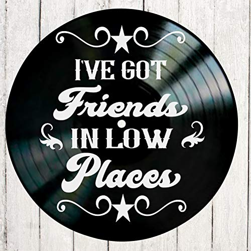 Friends in Low Places song lyric art/inspired by Garth Brooks Vinyl Record Album Wall Decor
