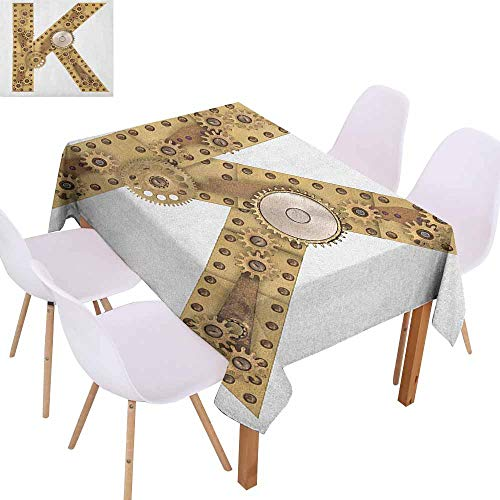 Marilec Easy Care Tablecloth Letter K Letter with Cyberpunk Industry Theme Design Cogwheels Brass in Vintage Style Image Picnic W60 xL102 Sand -