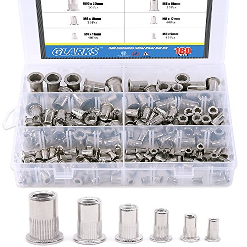 Glarks 180Pcs 304 Stainless Steel Flat Head Threaded Rivetnut Insert Nutsert Rivet Nut Assortment Kit - M3 M4 M5 M6 M8 M10 by Glarks