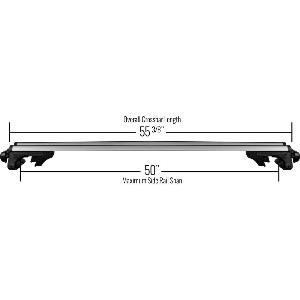 Universal Aluminum Locking Roof Cargo Bars - Fits Roof Side Rails Up To 50'' Apart