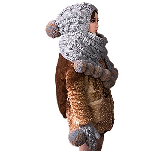(ALLDECOR Super Big Scarf Hat & Gloves Handmade Knitted Pompom Beanie Cap)