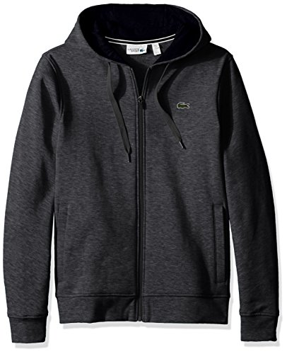 Lacoste Men's Full Zip Hoodie Fleece Sweatshirt, SH7609, Pitch/Navy Blue, XX-Large by Lacoste (Image #1)
