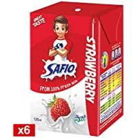 Safio UHT Strawberry Flavoured Milk, 6 x 125 ml