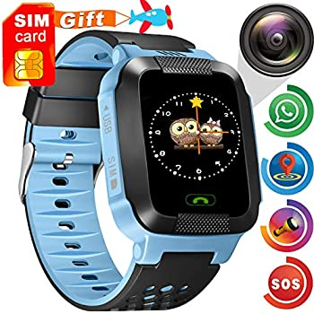 Kids Smart Watch Phone GPS Tracker - [Speedtalk SIM Included] Kids Smartwatch for 3-12 Year Boys Girls Touch Screen Flashlight SOS Anti-Lost Camera Alarm ...