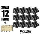 Arrowzoom New 12 Pack of 4.7 in X 4.7 in X 9.4 in Black Insulation Bass Trap Acoustic Wall Foam Padding Studio Foam Tiles AZ1133 (Black)