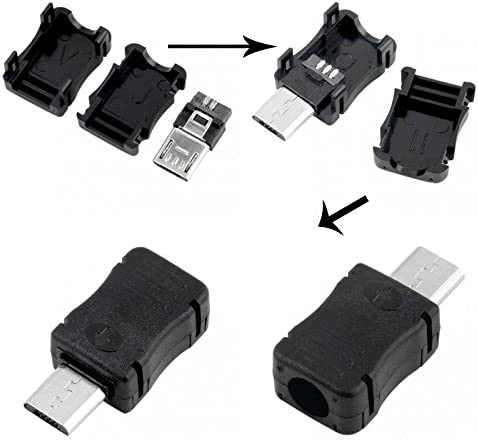 Gimax 100PCS Micro USB Male Connector Male Micro USB Jack 2.0 5PIN Plug Socket With Plastic Cover For Kinds of DIY