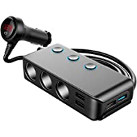 Car Charger, 120W 12V/24V 3-Socket Cigarette Lighter Splitter Quick Charge 3.0 and Three 2.4A USB Outlet with Voltmeter…