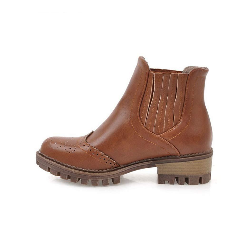 Ankle Winterstiefel für Frauen Platz High Heel runde Spitze Reißverschluss Damen warme Schuhe