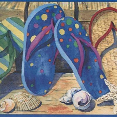 Flip Flop Border - Beach Sandals Wallpaper Border CLEARANCE SALE!