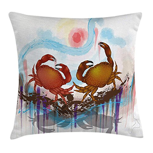 Queolszi Crabs Decor Throw Pillow Cushion Cover, Sea Animals Theme Two Crabs Dancing on Abstract Grunge Background Print, Decorative Square Accent Pillow Case, 16 X 16 Inchess, Brown Light -