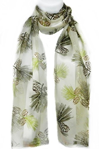 Imagine If... Silk Feel Scarf- Pine Branches & Pine Cones- - Island In Long Macys