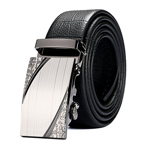 "Price comparison product image VRLEGEND Dress Belt Casual Genuine Leather Belt Men Business Jean Belt Fashion Automatic Ratchet Buckle (34""-40"",  Black)"