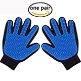 Pet Grooming Glove-Pet Hair Remover - Cat & Dog Brush Glove Deshedding Tool for Pet Fur Shedding-Massage Mitt Works-Perfect for Dogs & Cats with Long & Short Fur