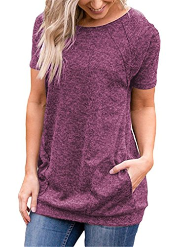 onlypuff Wine Red Short Sleeve Tunic Tops for Women Solid Color T Shirts Batwing Shirts Medium