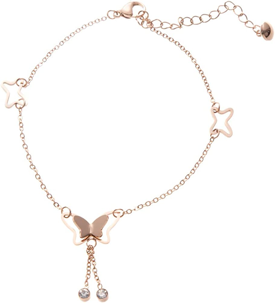 UALGL 18k Rose Gold Butterfly Necklace and Anklet Starfish Necklace Horse Necklace for Women Girl Beautiful Gift Box