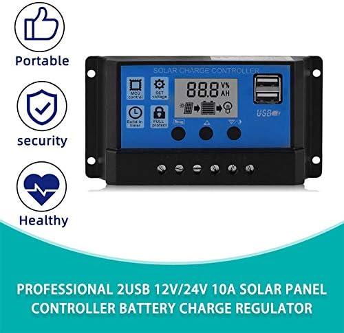 Profesional 2USB 12V 24V 10A Controlador de panel solar Regulador de carga de bater/ía Cloverclover