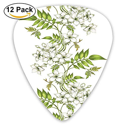 Guitar Picks Thin,Vector Jasmine Floral Design With Leaf Spring Time Romantic Garden 351 Shape Premium Picks (12 Pack)