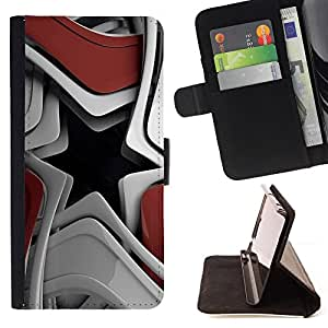 DEVIL CASE - FOR Samsung ALPHA G850 - Abstract Star - Style PU Leather Case Wallet Flip Stand Flap Closure Cover